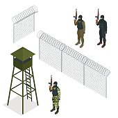 Isometric Security with a barbed wire fence. Soldier, officer.