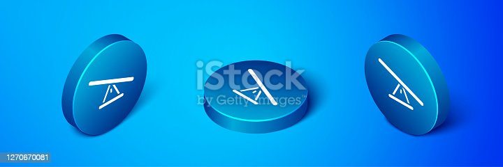 Isometric Seesaw icon isolated on blue background. Teeter equal board. Playground symbol. Blue circle button. Vector.