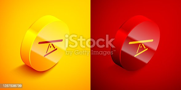 Isometric Seesaw icon isolated on orange and red background. Teeter equal board. Playground symbol. Circle button. Vector.