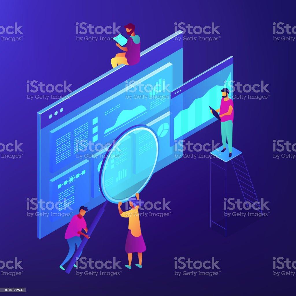 Isometric SEO marketing and analytics illustration vector art illustration