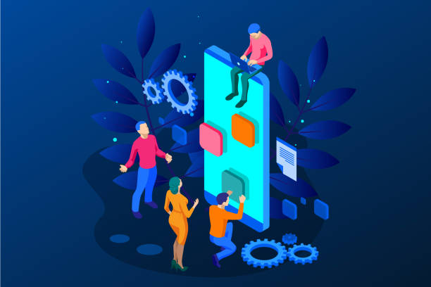 ilustrações, clipart, desenhos animados e ícones de isométrica otimização seo e analytics equipe moderna aterragem página conceito de design. - app