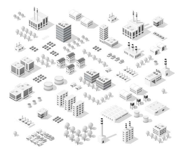 Isometric set city with skyscrapers vector art illustration
