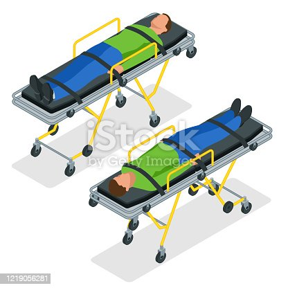 Isometric set of a gurney or wheeled stretchers isolated on white. Healthcare, reanimation, emergency room and medicine concept.