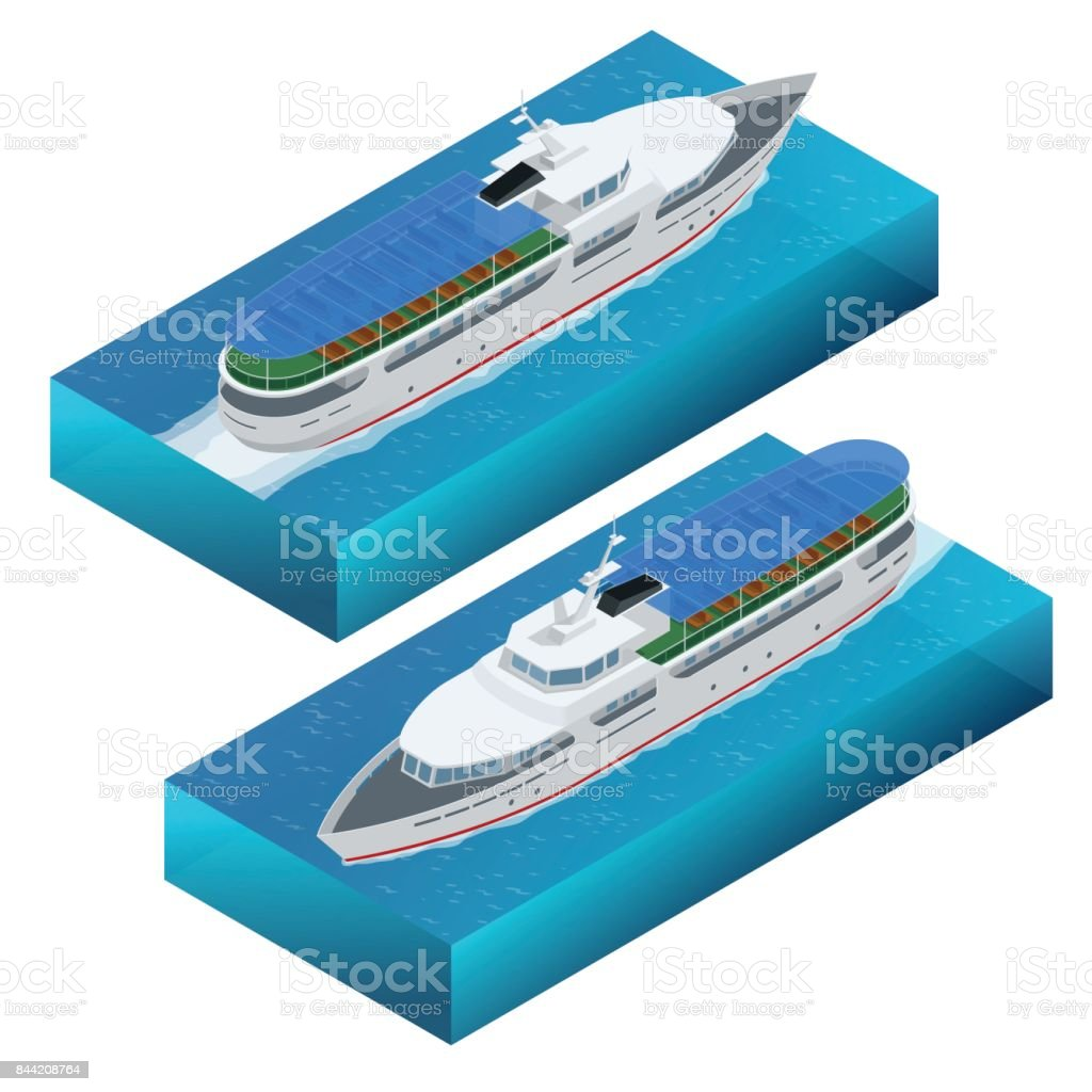 Isometric set of a pleasure boat. Flat vector illustration of pleasure boat tourist yacht to travel by sea transport vector art illustration