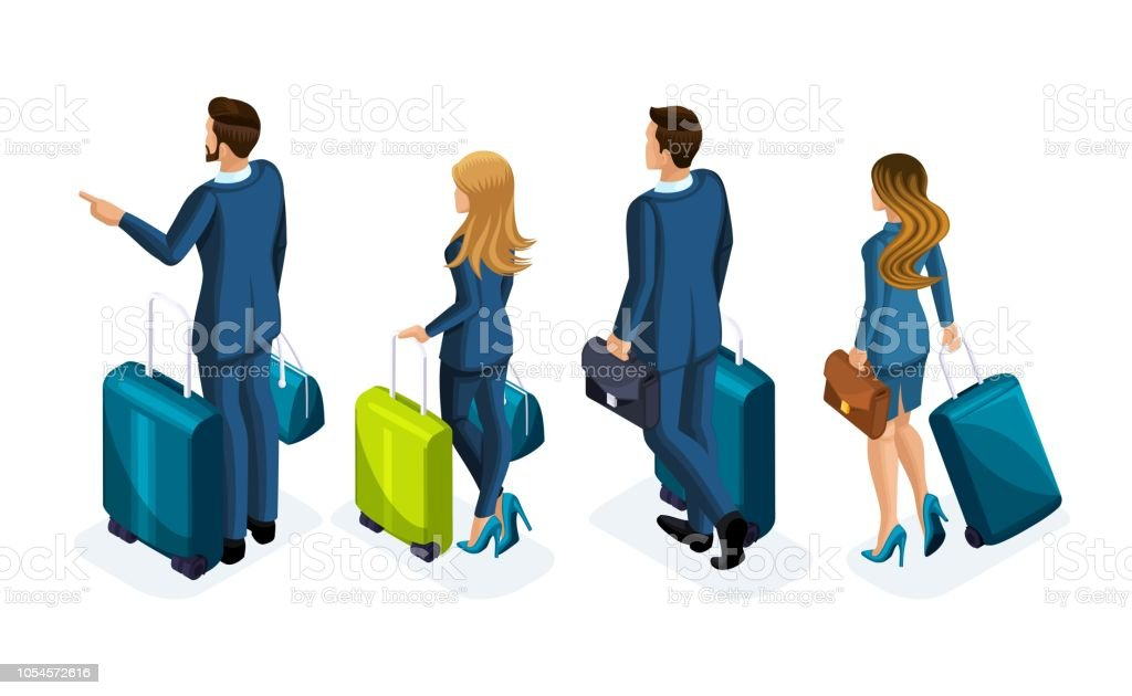 Isometric Set of beautiful business people and business woman on a business trip, with luggage at the airport, rear view. Traveling businessmen, business trip vector art illustration