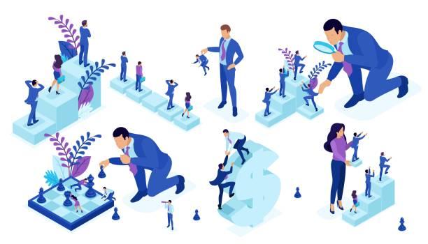 isometrische reihe von unternehmen großen geschäftsmann laufen, schachspielen, schafft strategie. vector volk - laufführer stock-grafiken, -clipart, -cartoons und -symbole