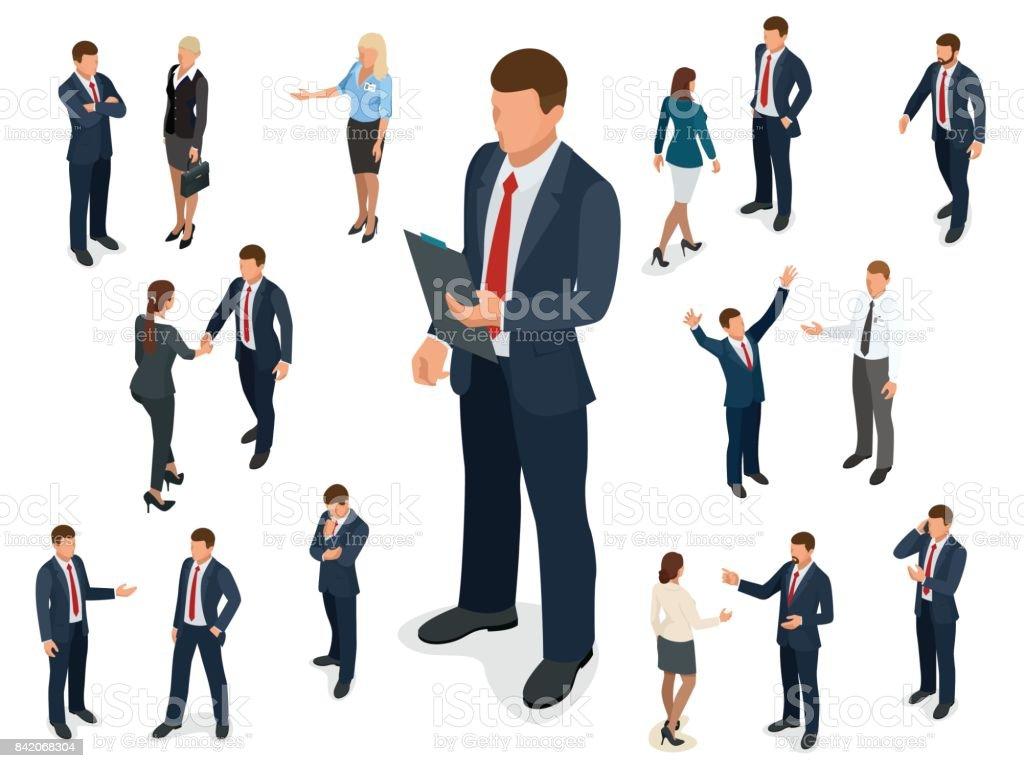 Sistema isométrico del diseño de carácter empresario y empresaria. Hombre de negocios isométrica de personas en poses diferentes aislados. - ilustración de arte vectorial