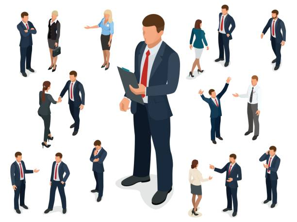 illustrazioni stock, clip art, cartoni animati e icone di tendenza di isometric set of businessman and businesswoman character design. people isometric business man in different poses isolated. - business man