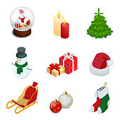 Isometric set of Christmas new year holiday decoration icons set isolated vector illustration New Year s ball, candles, snowman, gifts, Christmas tree, santa hat, sled, New Year s toys.