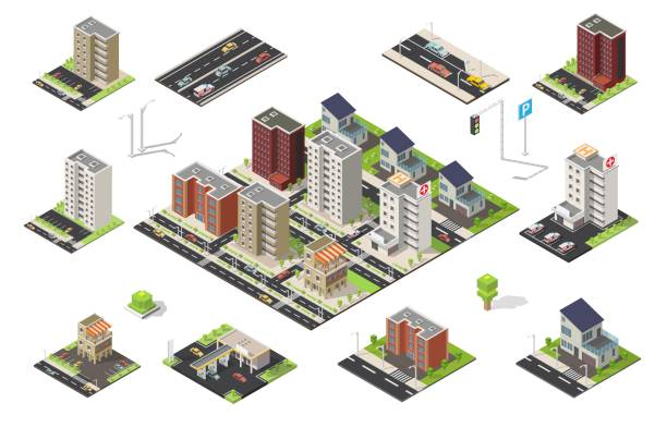 Isometric set of city cityscape vector low poly elements vector art illustration
