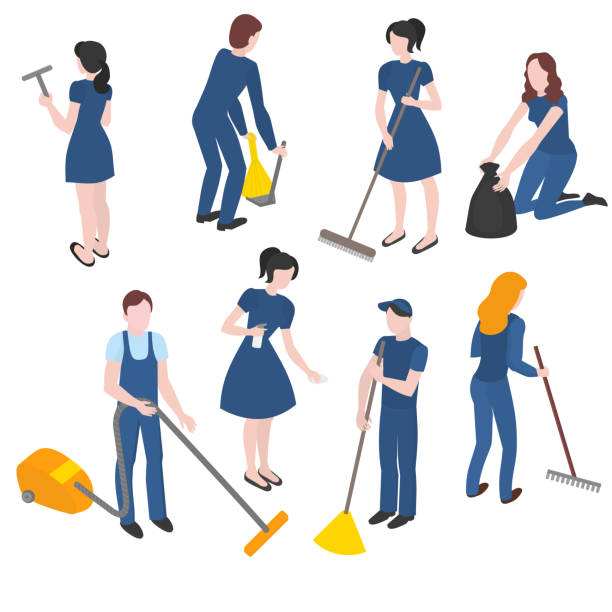 illustrazioni stock, clip art, cartoni animati e icone di tendenza di isometric set of cleaning company staff with the equipment. cleanup and housekeeping - addetto alle pulizie