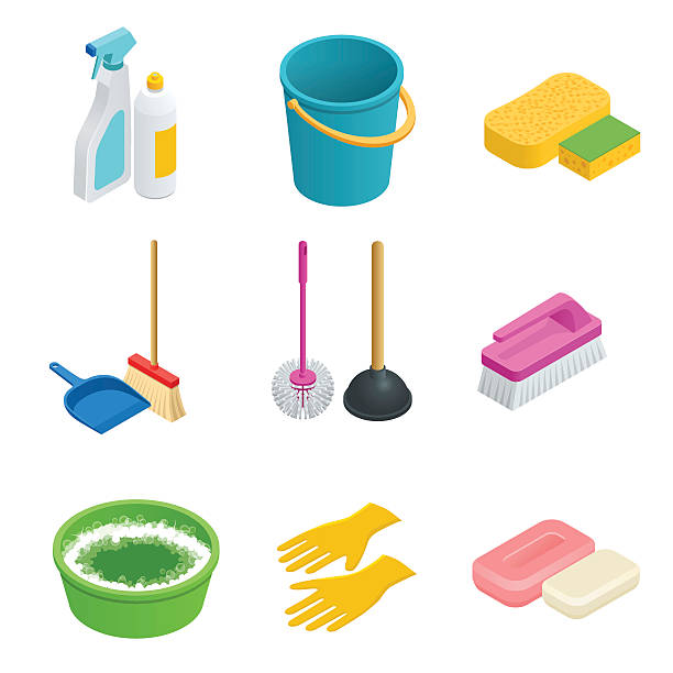 Isometric set of cleaning tools vector art illustration