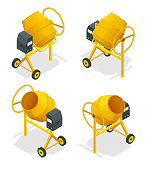 Isometric set of Concrete mixer icon for web. Cement mixer vector, pouring cement isolated white background