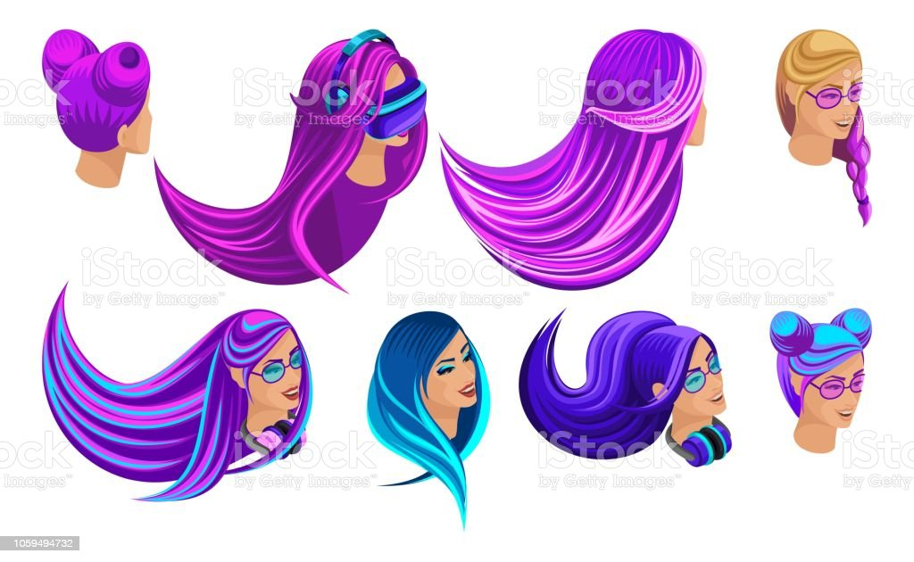 Isometric Set Of Creative Hairstyles Bright Hair Color ...