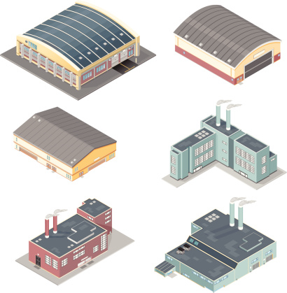 Isometric Set of Factories and Warehouses