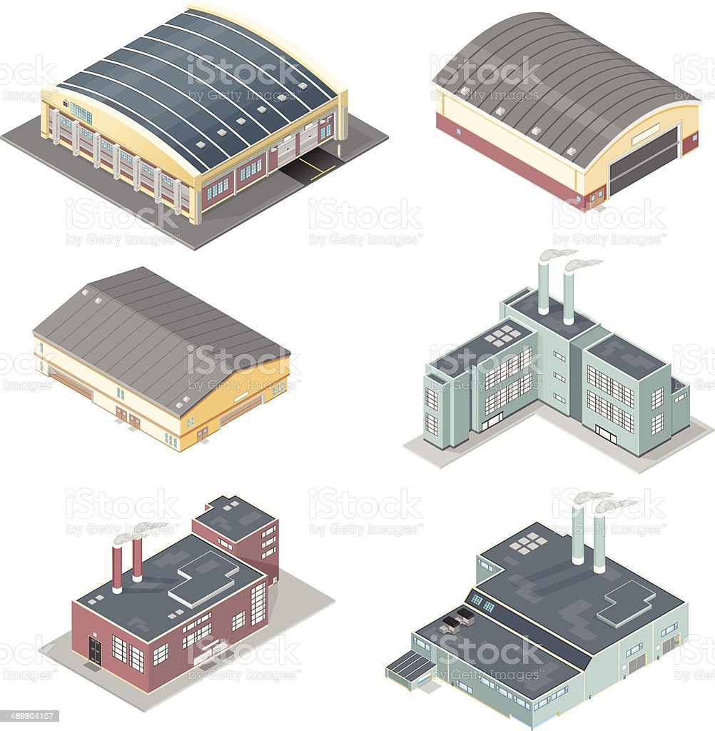 Isometric Set of Factories and Warehouses vector art illustration