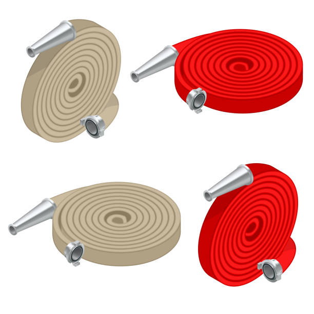 Isometric set of fire hoses. Fire safety and protection. Rolled into a roll, red fire hose with aluminum connective couplings isolated. Vector illustration Isometric set of fire hoses. Fire safety and protection. Rolled into a roll, red fire hose with aluminum connective couplings isolated. Vector illustration. fire hose stock illustrations