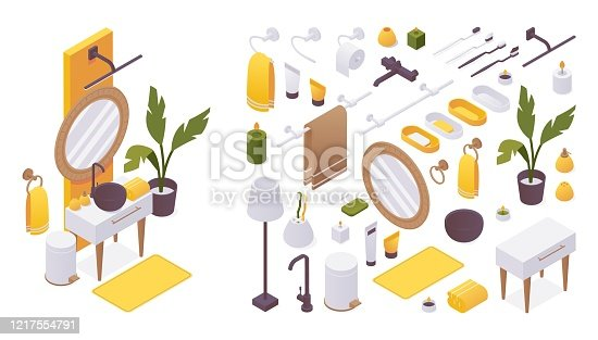 Isometric set of furniture for bathroom like faucet ware, sink. mirror, towel holder and hygiene accessories