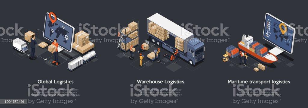 Isometrisches Set der globalen Logistik, Lagerlogistik, Seetransportlogistik. Pünktliche Lieferung entwickelt, um zu sortieren und tragen große Anzahl von Fracht. Vektor-Illustration - Lizenzfrei Abschicken Vektorgrafik
