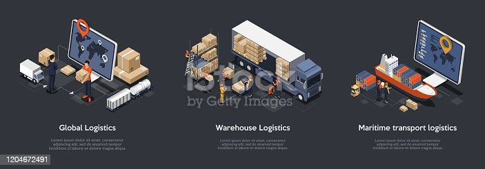 istock Isometric Set Of Global Logistics, Warehouse Logistics, Maritime Transport Logistics. On Time Delivery Designed To Sort and Carry Large Numbers Of Cargo. Vector Illustration 1204672491