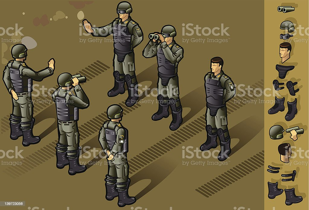 isometric set of militar people standing royalty-free stock vector art