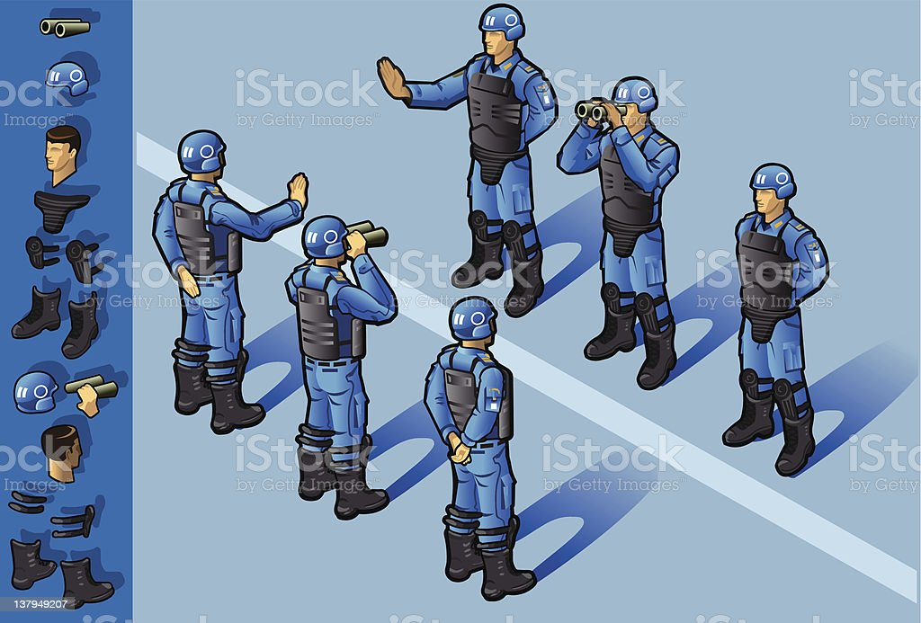 isometric set of military peacekeepers royalty-free stock vector art