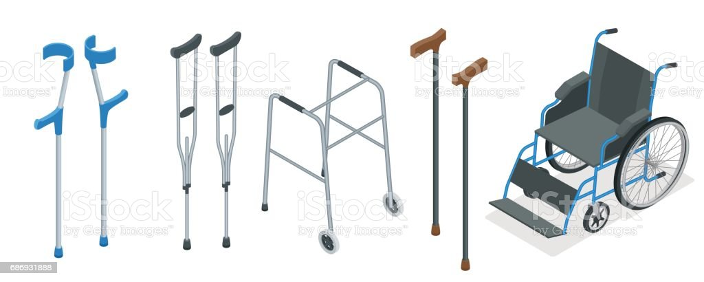 Isometric set of mobility aids including a wheelchair, walker, crutches, quad cane, and forearm crutches. Vector illustration. Health care concept. vector art illustration