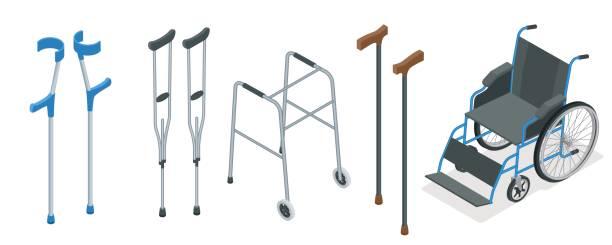 モビリティの等尺性セット エイズの車椅子、歩行器、松葉杖、四点杖、ロフストランドを含みます。ベクトルの図。医療コンセプト。 - 杖点のイラスト素材/クリップアート素材/マンガ素材/アイコン素材