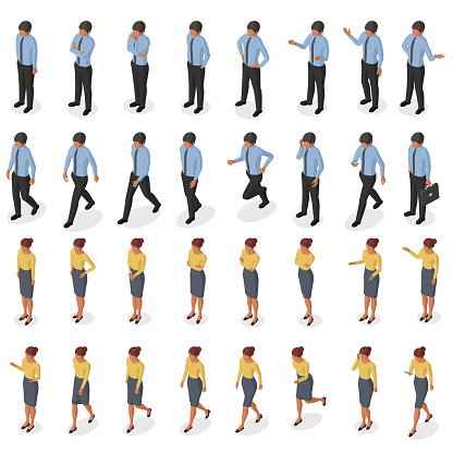 Isometric set of movements and poses of a businessman and businesswoman