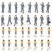 Isometric set of movements and poses of a businessman and businesswoman.
