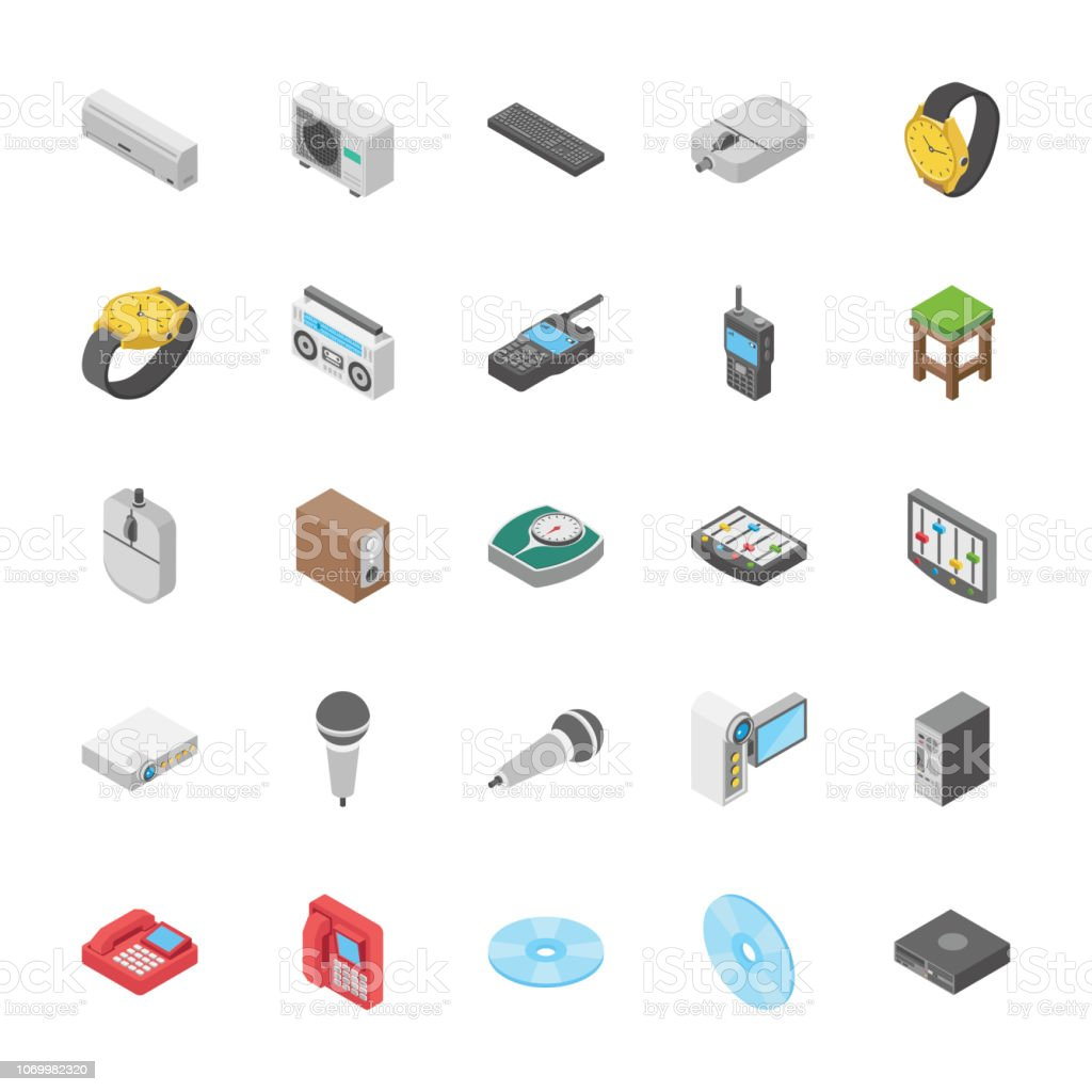 Isometric Set Of Objects Collection vector art illustration