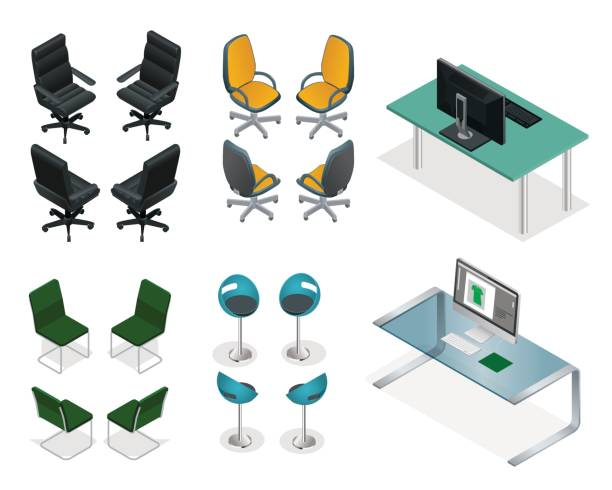 Isometric set of office chairs and tables. Easy VIP Office Furniture on a white background Isometric set of office chairs and tables. Easy VIP Office Furniture on a white background. office chair stock illustrations