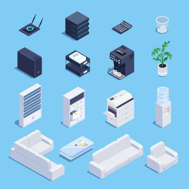 isometric set of office equipment and furniture. - computer server room stock illustrations