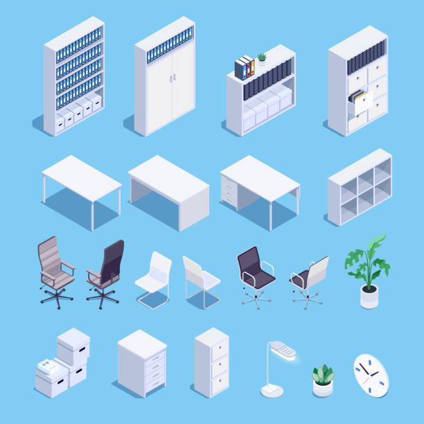 illustrazioni stock, clip art, cartoni animati e icone di tendenza di isometric set of office furniture icons. - mobilio