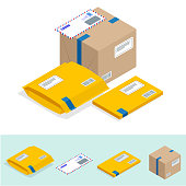 istock Isometric set of Post Office, attributes of postal service, point of correspondence delivery icons. Postal services icon 926411116
