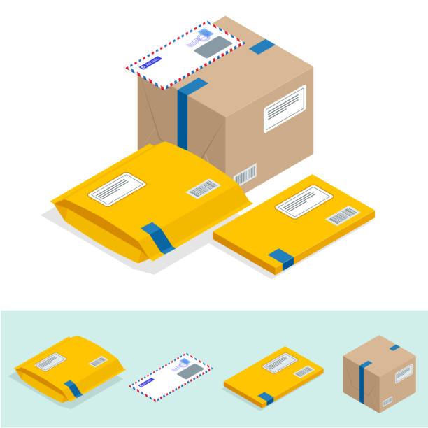 bildbanksillustrationer, clip art samt tecknat material och ikoner med isometrisk uppsättning postkontor, attribut för posttjänster, peka av korrespondens leverans ikoner. posttjänster-ikonen - paket