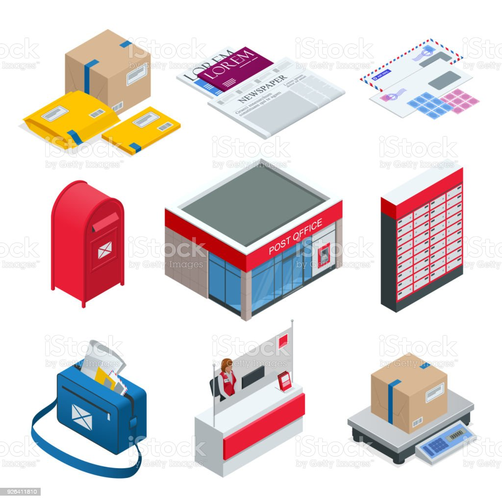 Isometric set of Post Office, Postman, envelope, mailbox and other attributes of postal service, point of correspondence delivery icons.