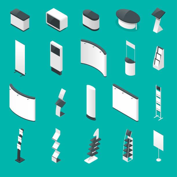 Sistema isométrico de soportes promocionales o de estándares de exposición, folleto sobre fondo azul aislados ilustración vectorial - ilustración de arte vectorial