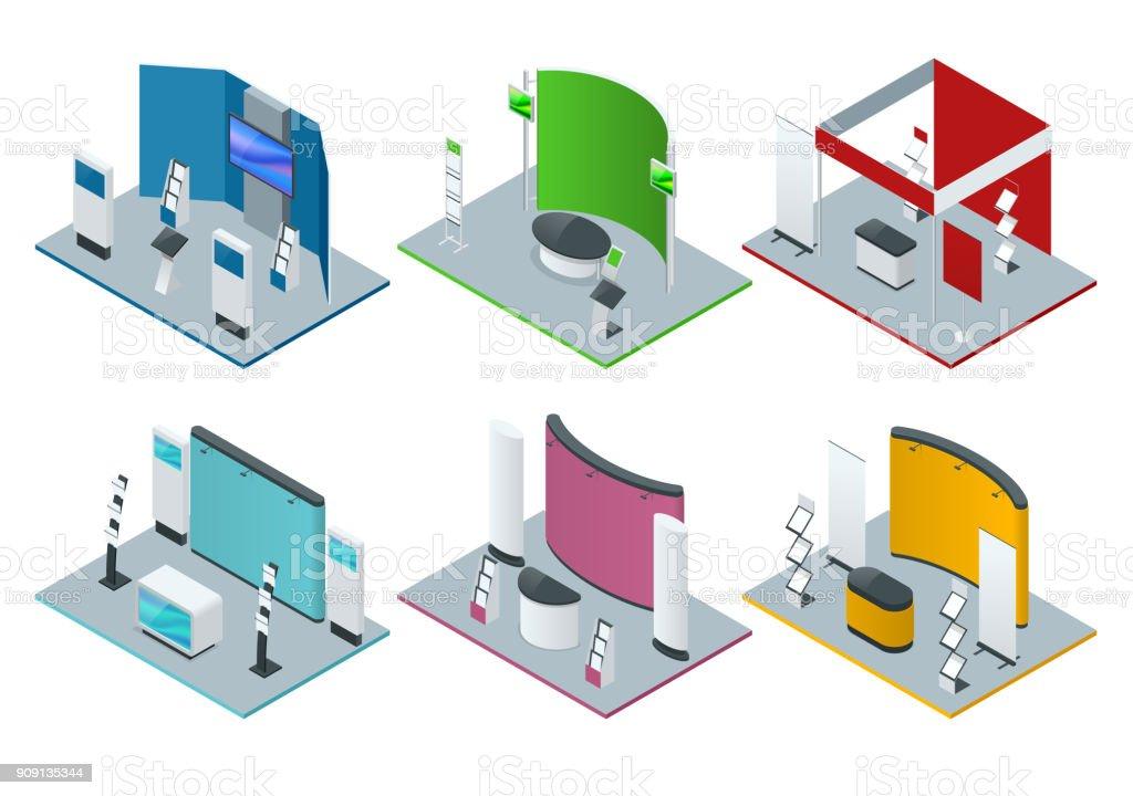 Sistema isométrico de soportes promocionales o exposición soportes estantes mesas de exhibición como folleto - ilustración de arte vectorial