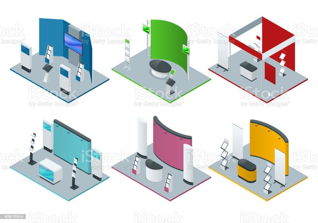 Isometric set of promotional stands or exhibition stands including display desks shelves and handout vector art illustration