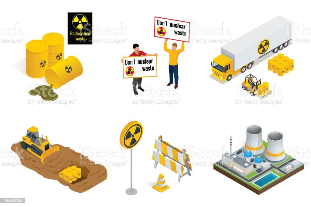 Isometric set of Radioactive waste elements. People protest, barrels, transportation, power station or reactors, tractor digs in drums with radioactive waste. Flat 3d vector isometric illustration. vector art illustration