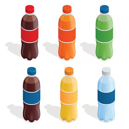 Isometric Set of refreshing drinks in plastic bottles