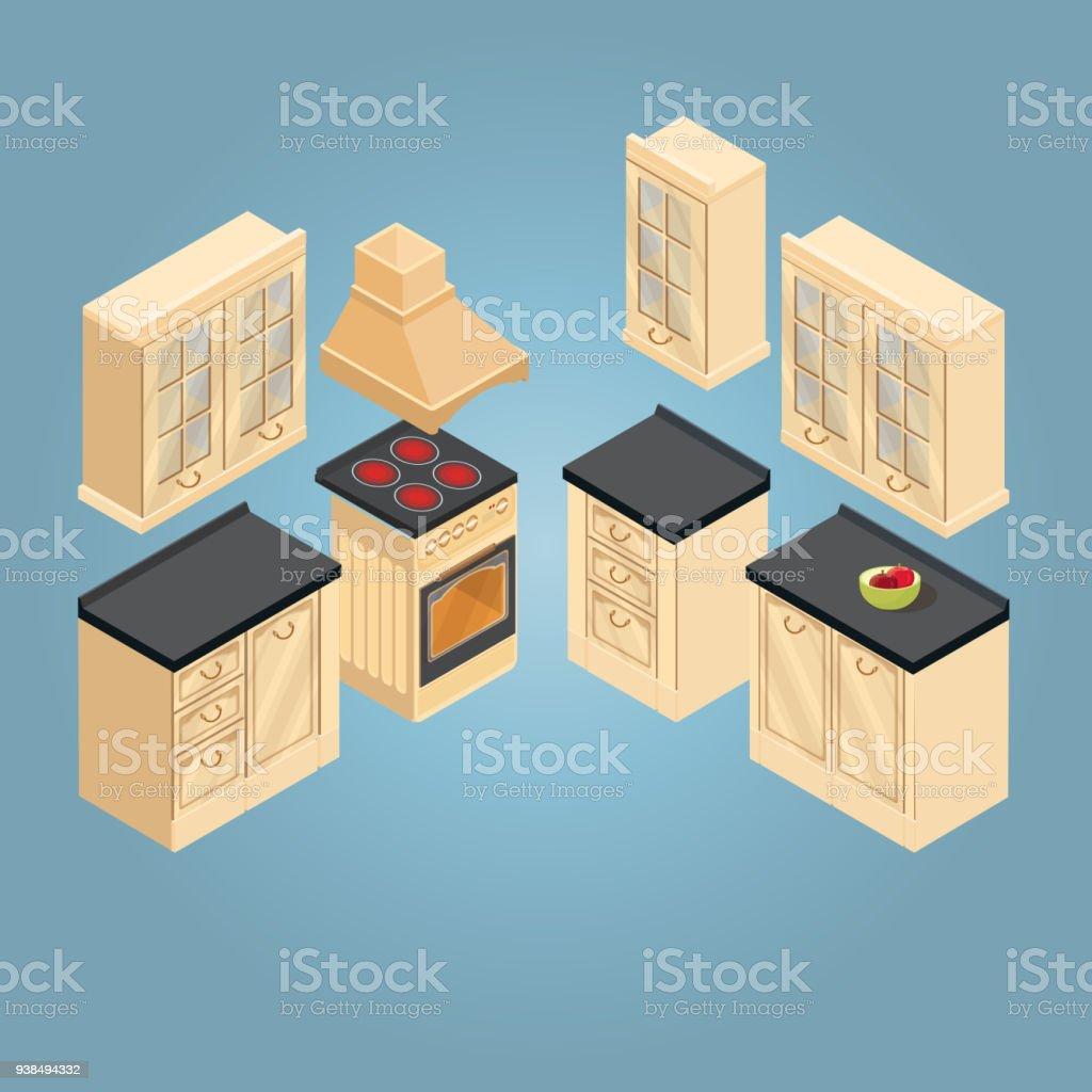 Ilustración de Isométrica Conjunto De Icono De Muebles De Cocina ...