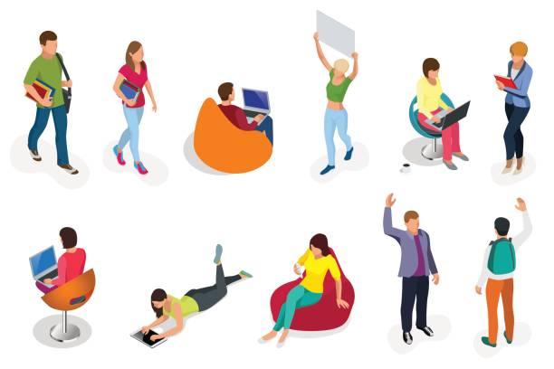 ilustrações, clipart, desenhos animados e ícones de isométrico conjunto de alunos com gadgets e livros. isométrica jovens, adolescentes e estudantes. conceito de aprendizagem, educação e escola. sobre fundo branco isolado. - college people laptop