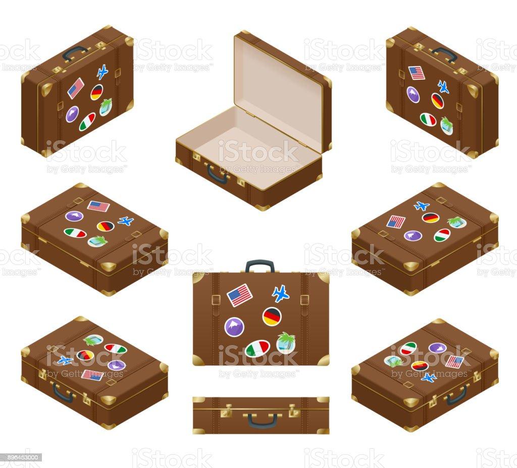 Isometrische Reisekoffer-Set mit Stickern Lizenzfreies isometrische reisekofferset mit stickern stock vektor art und mehr bilder von abschied