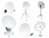 Isometric set Satellite dish antennas on white. Wireless communication equipments.