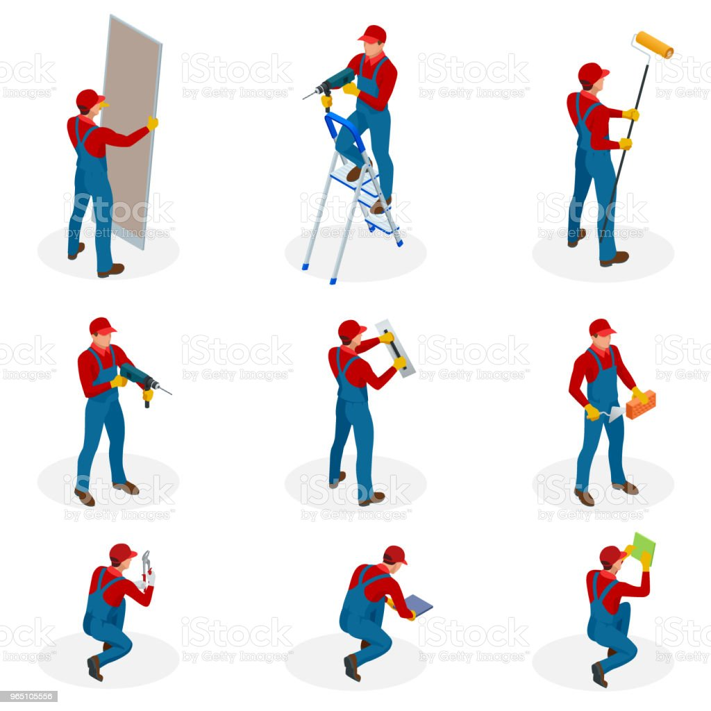 Isometric set with Home repair workers doing maintenance, industrial contractors workers people. Isolated over white background royalty-free isometric set with home repair workers doing maintenance industrial contractors workers people isolated over white background stock vector art & more images of architecture