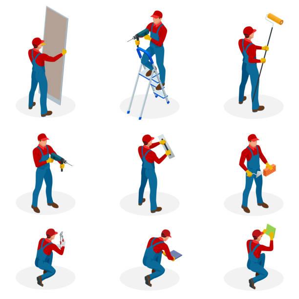 bildbanksillustrationer, clip art samt tecknat material och ikoner med isometrisk set med hem reparation arbetstagare gör underhåll, industriella entreprenörer arbetstagare personer. isolerade över vit bakgrund - construction workwear floor