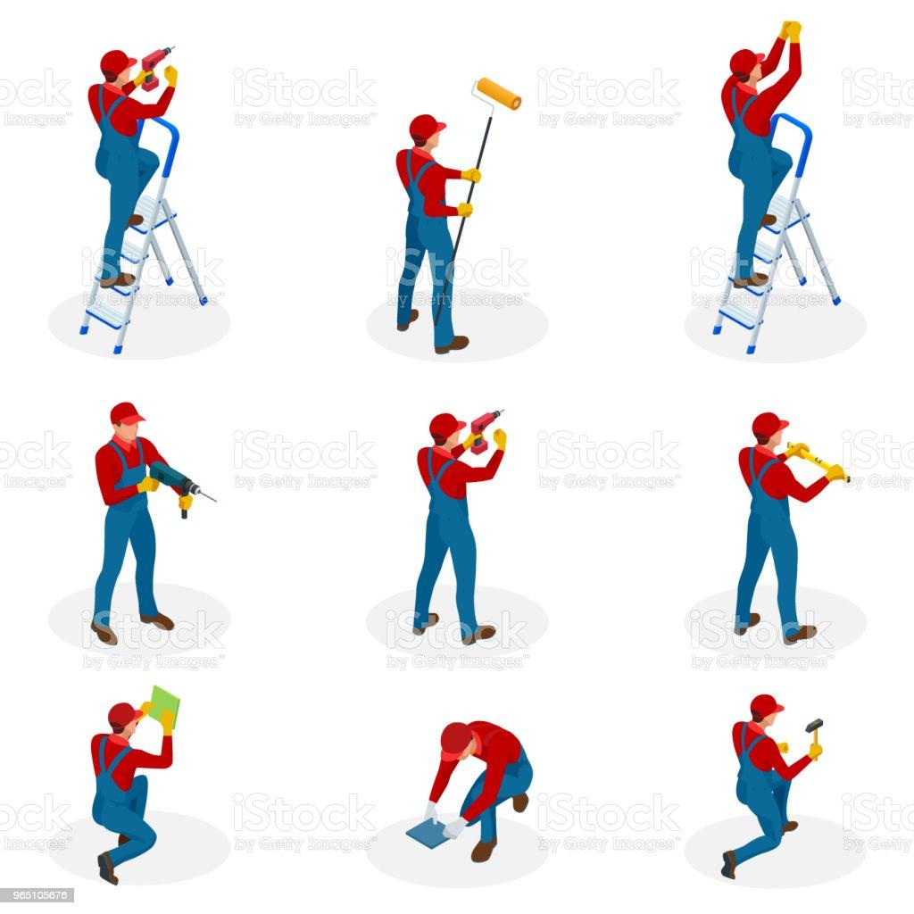 Isométrique sertie de travailleurs de réparation de maison entretien, gens travailleurs sous-traitants industriels. Isolé sur fond blanc - Illustration vectorielle