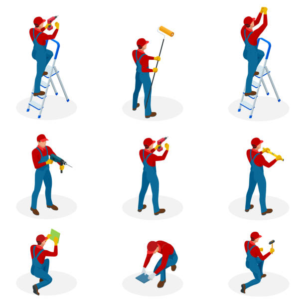 Isometric set with Home repair workers doing maintenance, industrial contractors workers people. Isolated over white background vector art illustration